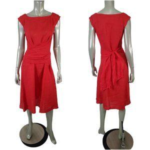Piazza Del Tempio Red 100% Linen Dress Small
